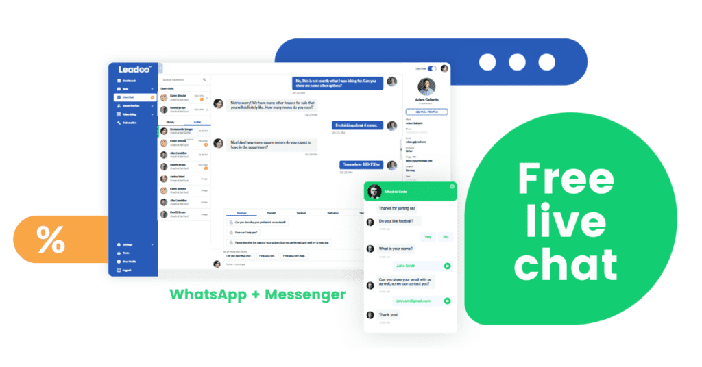 free leadoo live chat ui preview