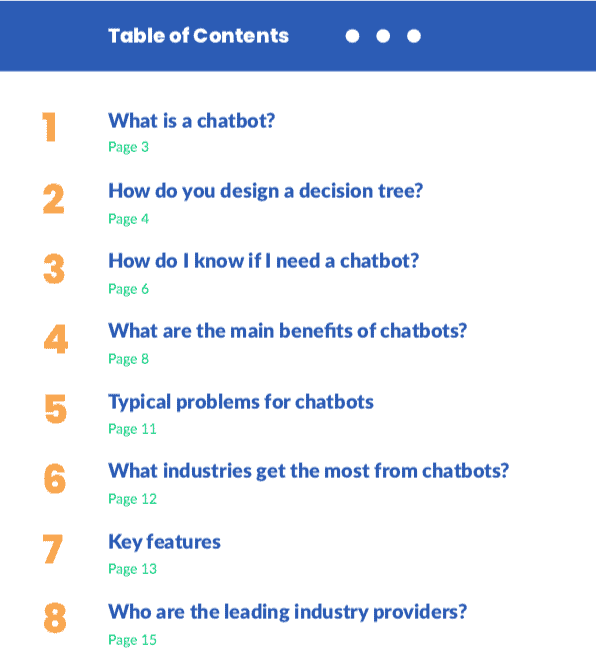 chatbot guide table of contents