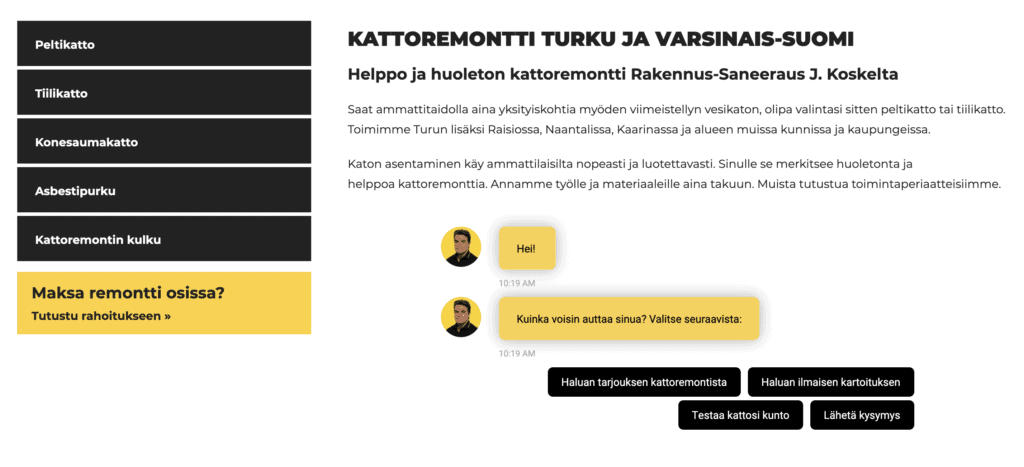 j.koski roofing renovation chatbot