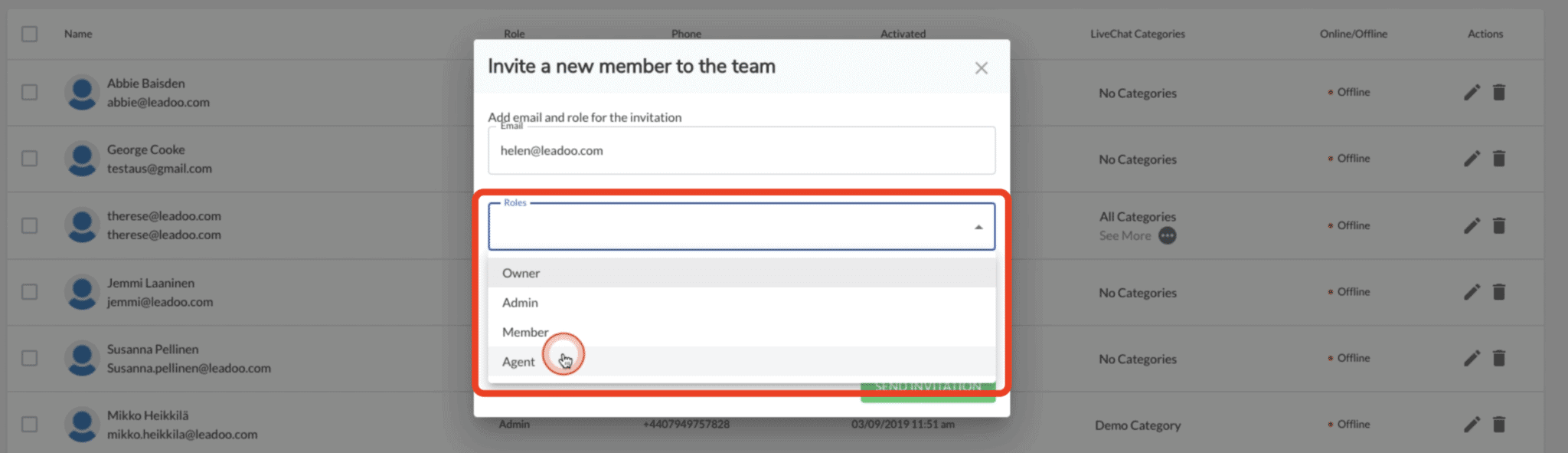 select the ive chat agent role for new Leadoo user
