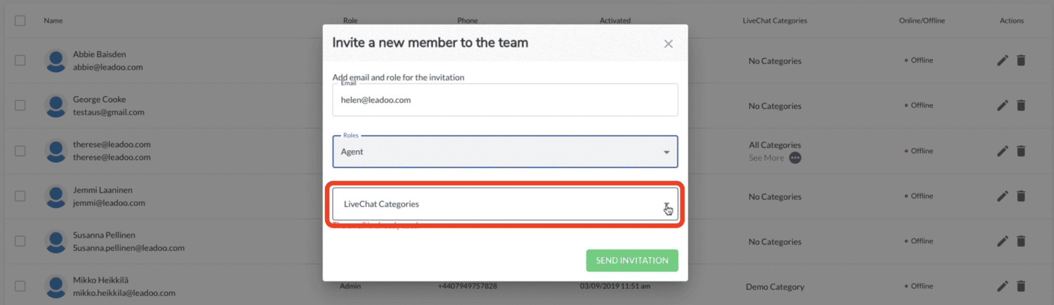 select live chat category access for new Leadoo user