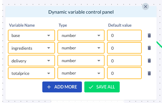 dynamic variable control panel