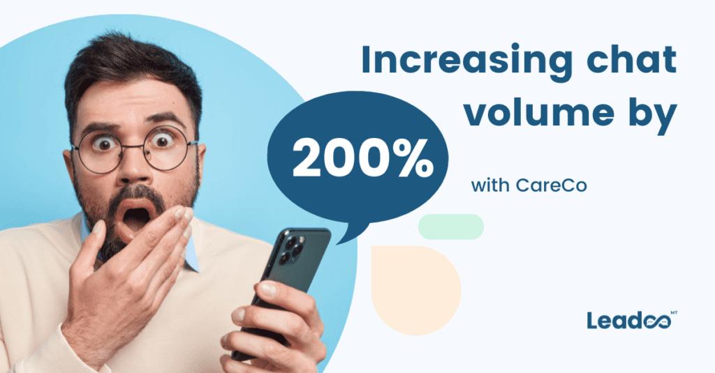 Kopio Blog post template 6 increasing chat volume Increasing chat volume by over 200% with CareCo
